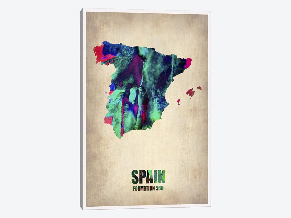 Spain Watercolor Map by Naxart 1-piece Canvas Art