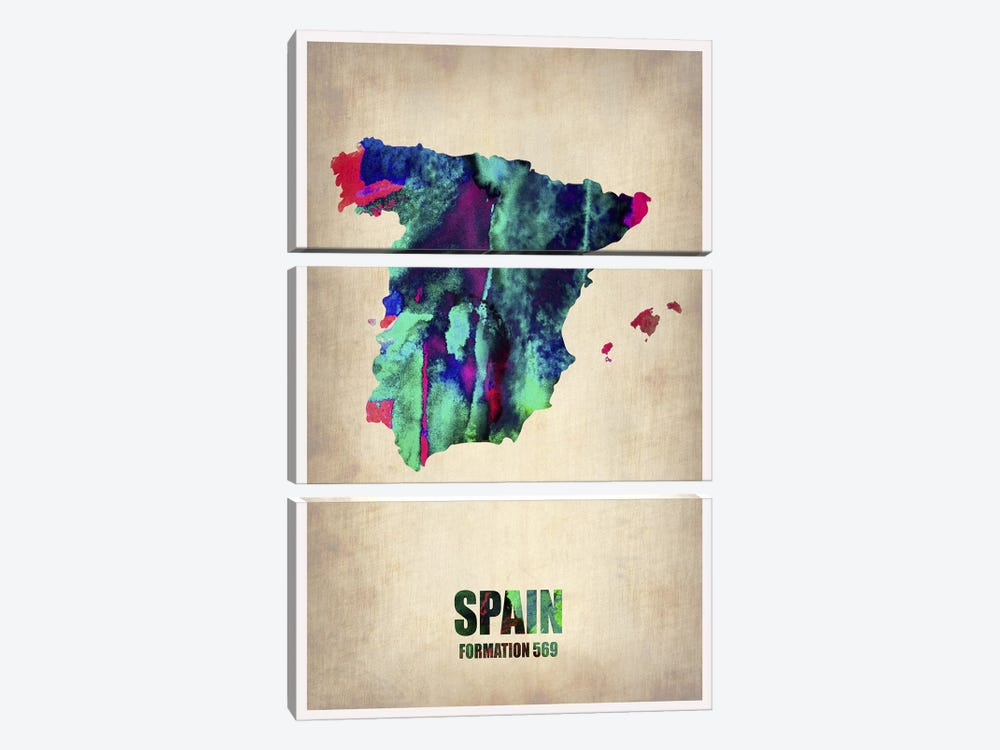Spain Watercolor Map by Naxart 3-piece Canvas Art