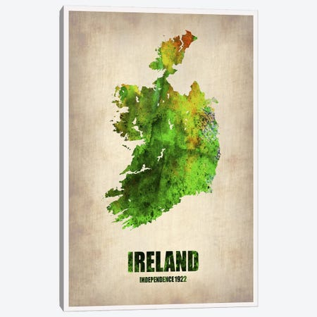 Ireland Watercolor Map Canvas Print #NAX320} by Naxart Canvas Wall Art