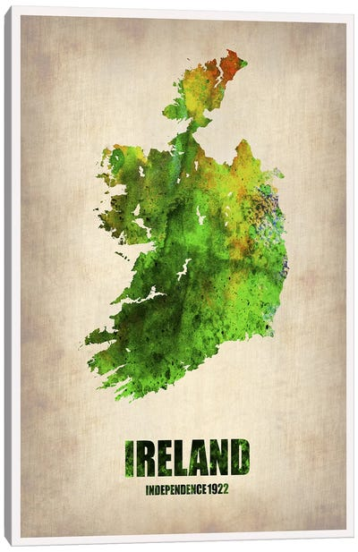 Ireland Watercolor Map Canvas Print #NAX320