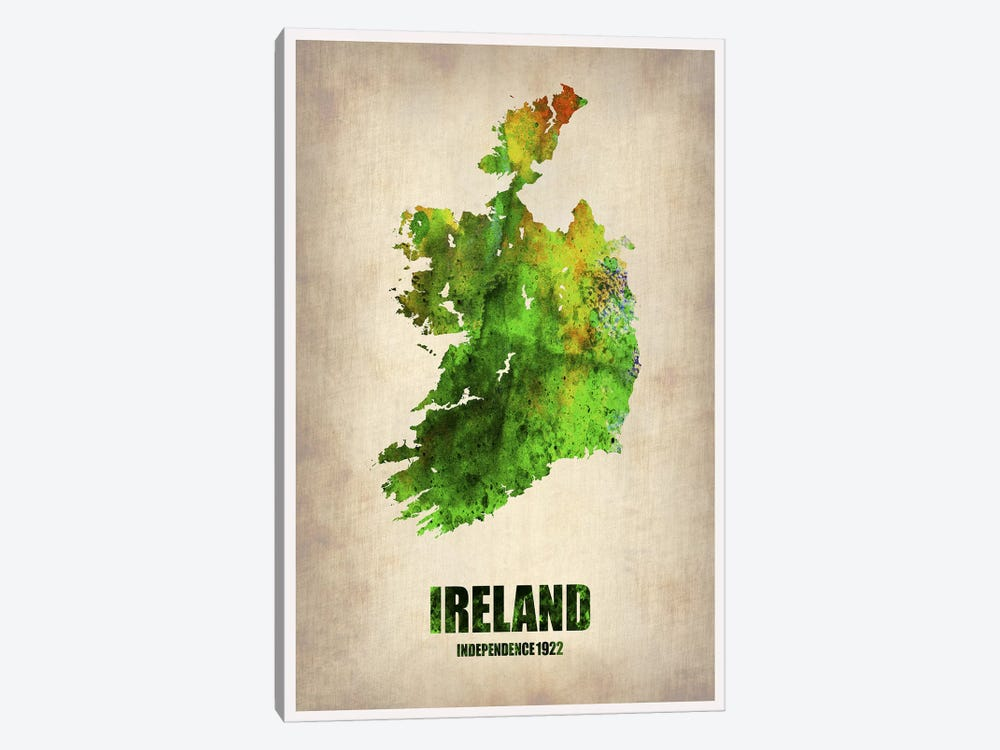 Ireland Watercolor Map 1-piece Canvas Artwork