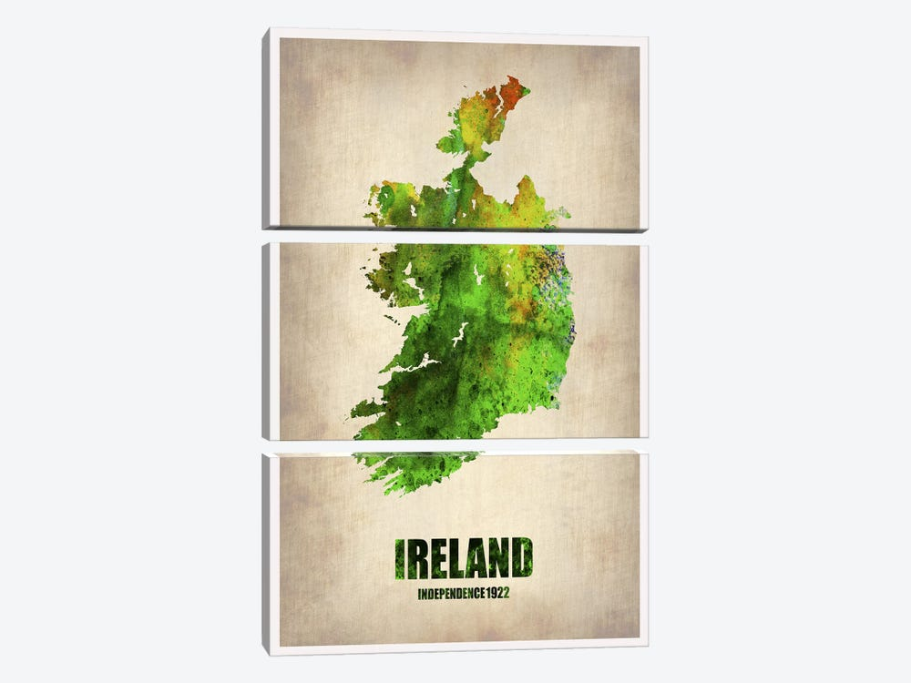 Ireland Watercolor Map by Naxart 3-piece Canvas Wall Art