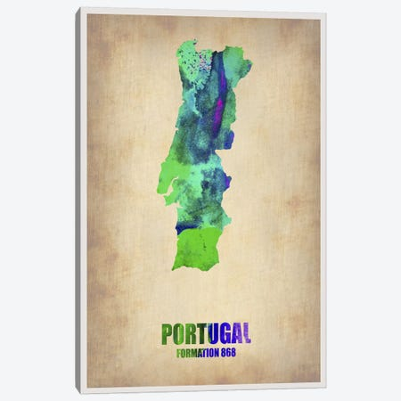 Portugal Watercolor Map Canvas Print #NAX321} by Naxart Canvas Art