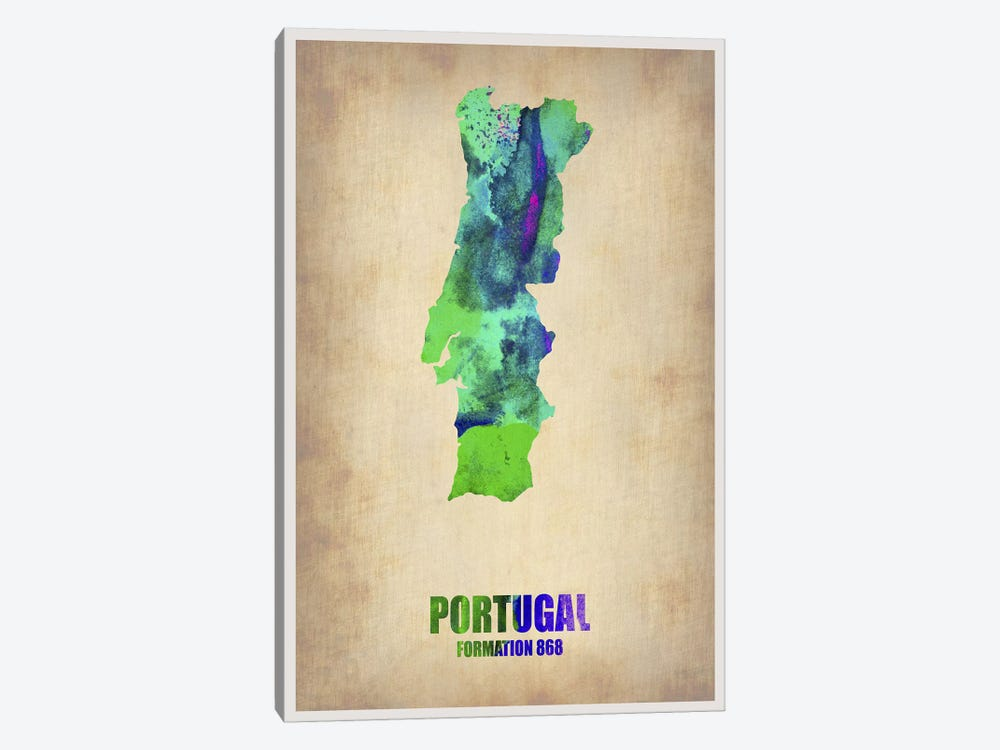 Portugal Watercolor Map by Naxart 1-piece Art Print