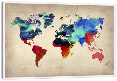 World Watercolor Map I Canvas Art Print