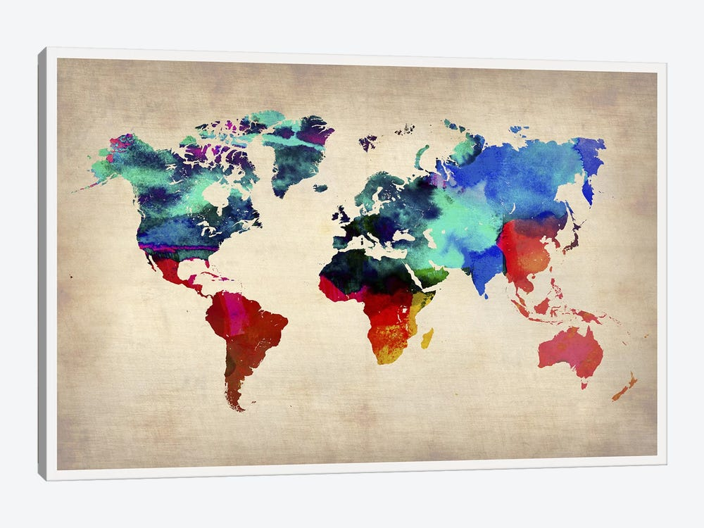 World Watercolor Map I by Naxart 1-piece Canvas Wall Art