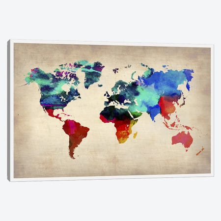 World Watercolor Map I Canvas Print #NAX322} by Naxart Canvas Artwork