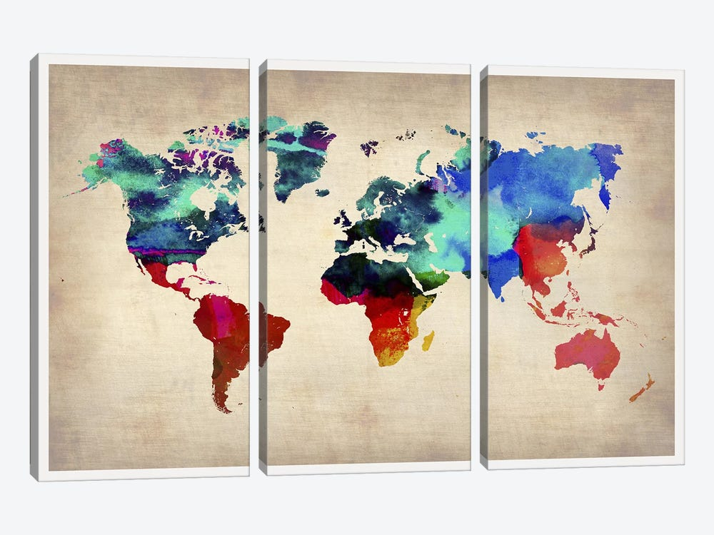 World Watercolor Map I by Naxart 3-piece Canvas Wall Art