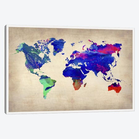 World Watercolor Map II Canvas Print #NAX323} by Naxart Canvas Art
