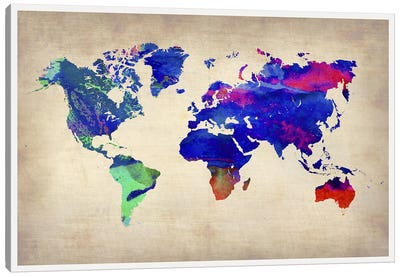 World Watercolor Map II Canvas Art Print