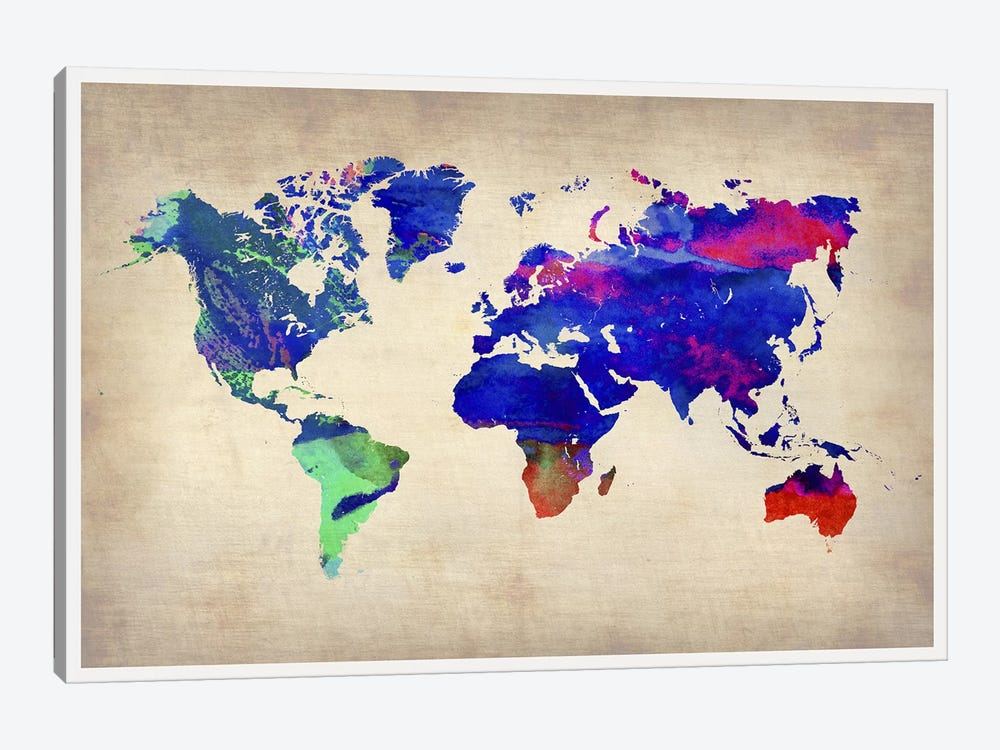 World Watercolor Map II by Naxart 1-piece Canvas Print