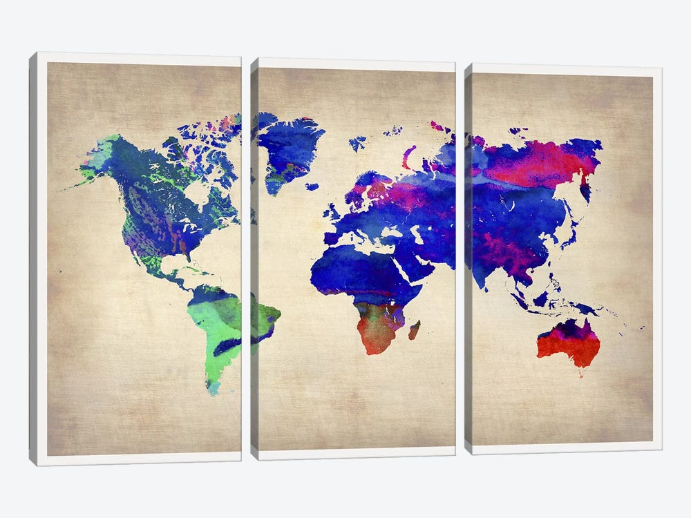 World Watercolor Map II by Naxart 3-piece Art Print