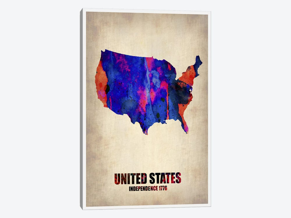 USA Watercolor Map I by Naxart 1-piece Canvas Wall Art