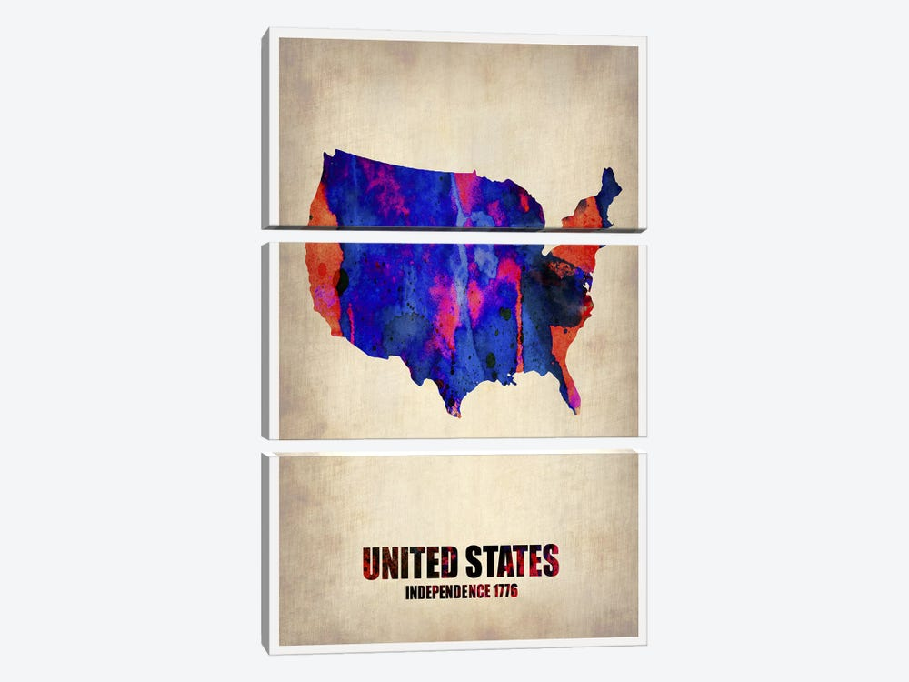 USA Watercolor Map I by Naxart 3-piece Canvas Wall Art