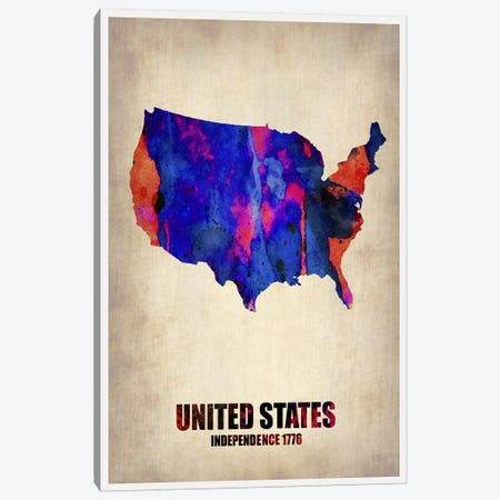 USA Watercolor Map I 3-Piece Canvas #NAX324} by Naxart Canvas Art Print