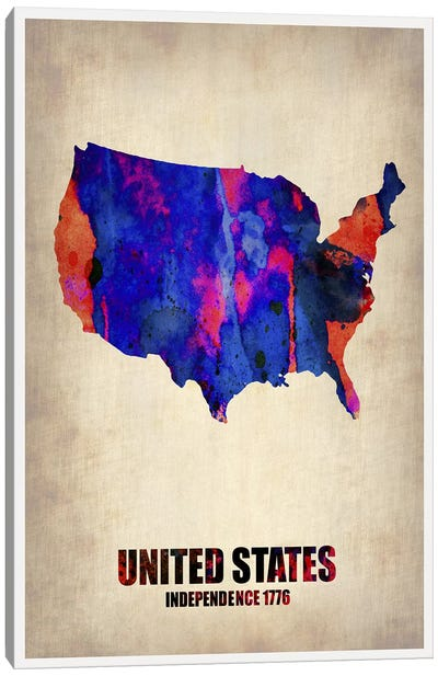USA Watercolor Map I Canvas Art Print