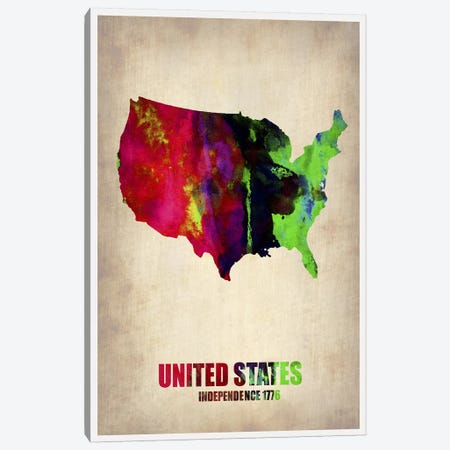 USA Watercolor Map II Canvas Print #NAX325} by Naxart Canvas Print