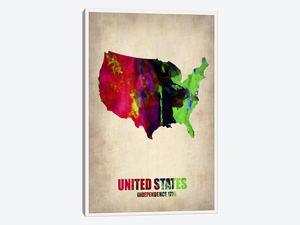 USA Watercolor Map II by Naxart 1-piece Canvas Print