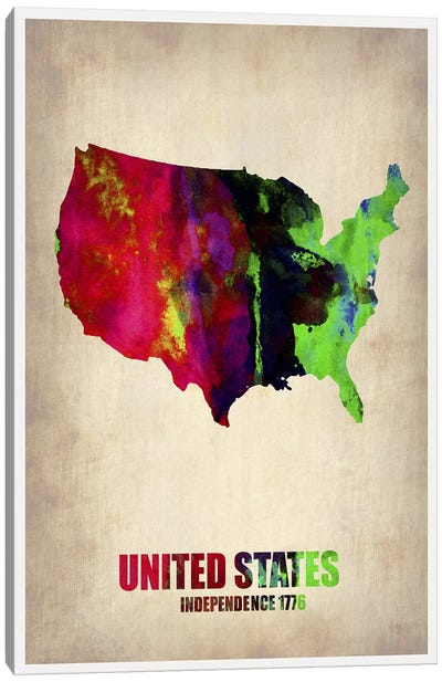 USA Watercolor Map II Canvas Art Print