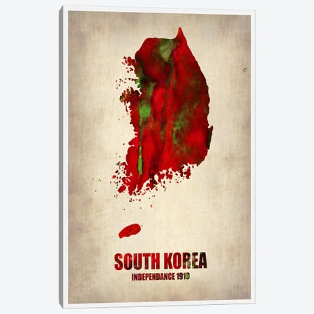 South Korea Watercolor Map Canvas Print #NAX326} by Naxart Art Print