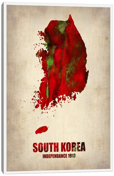South Korea Watercolor Map Canvas Art Print