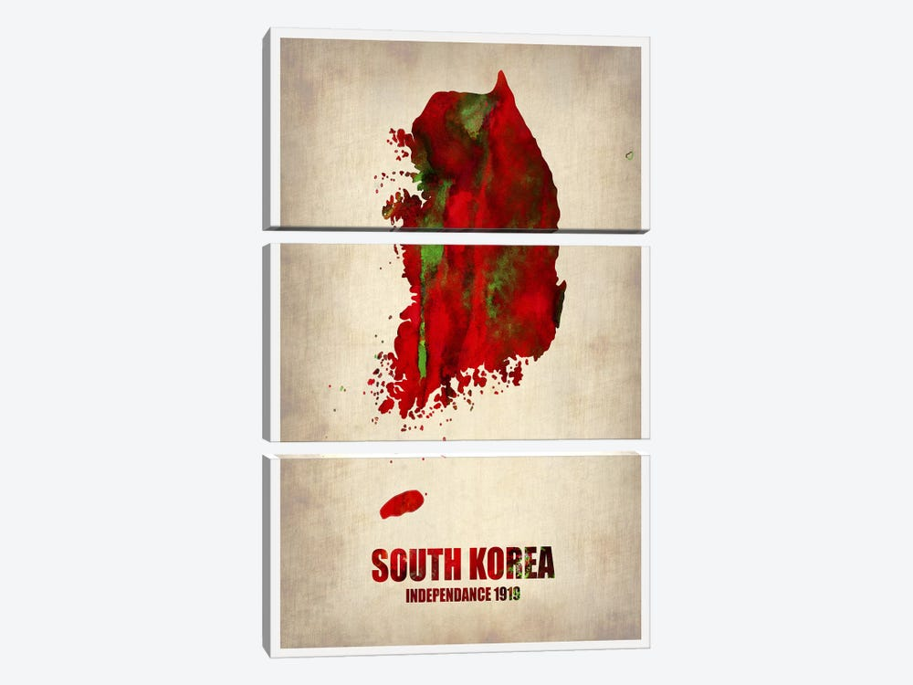 South Korea Watercolor Map by Naxart 3-piece Canvas Art
