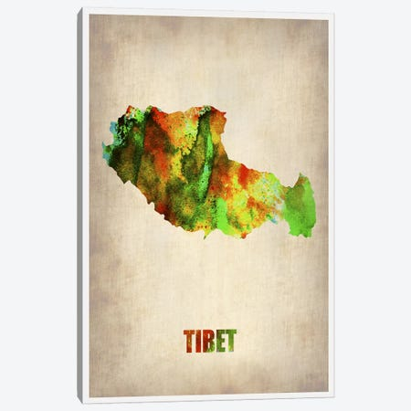 Tibet Watercolor Map Canvas Print #NAX327} by Naxart Canvas Art Print