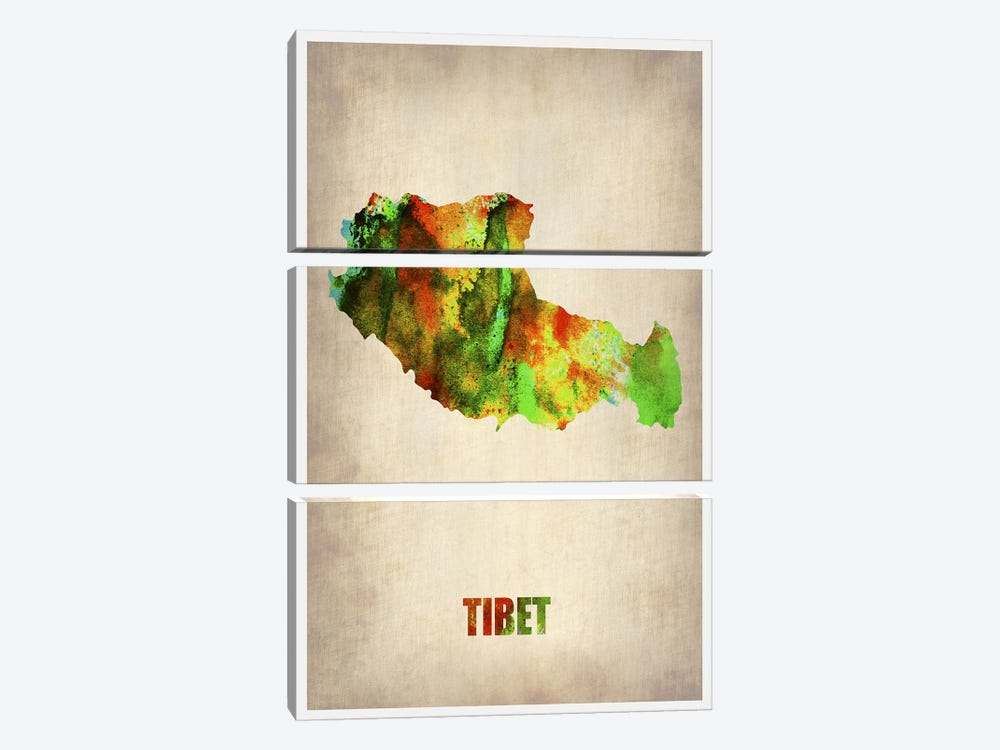 Tibet Watercolor Map by Naxart 3-piece Canvas Print