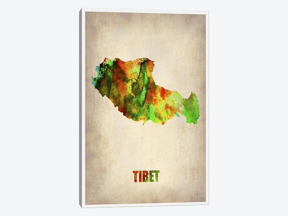 Tibet Watercolor Map by Naxart 1-piece Art Print