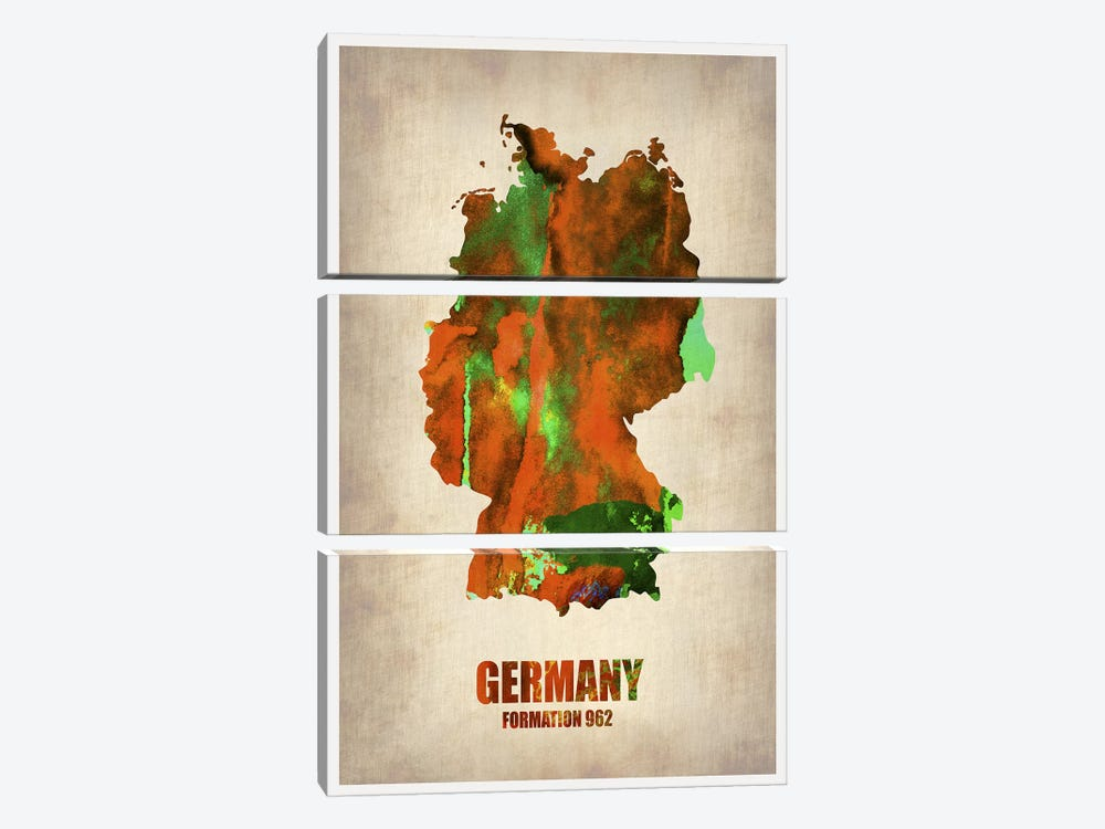 Germany Watercolor Map by Naxart 3-piece Canvas Art