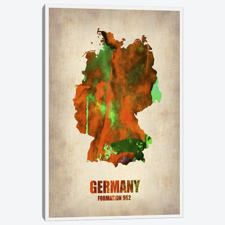 Germany Watercolor Map Canvas Print #NAX328} by Naxart Canvas Art