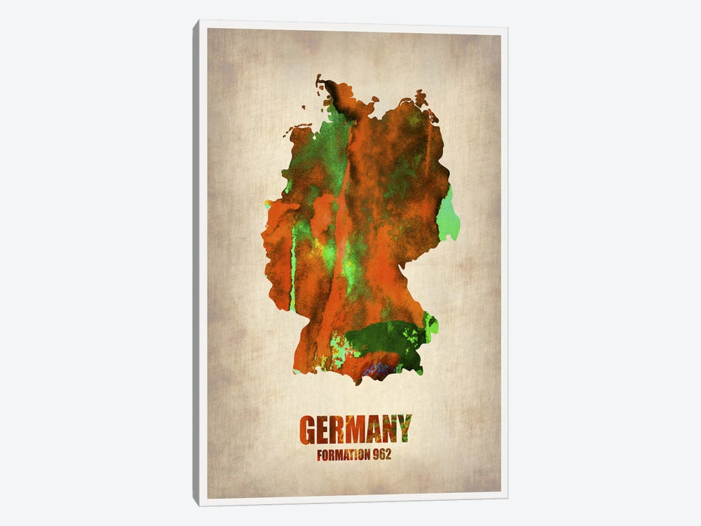 Germany Watercolor Map by Naxart 1-piece Canvas Artwork