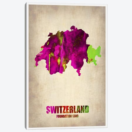 Switzerland Watercolor Map Canvas Print #NAX329} by Naxart Canvas Art