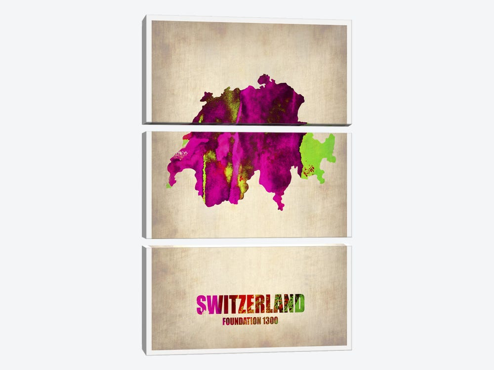 Switzerland Watercolor Map by Naxart 3-piece Canvas Print