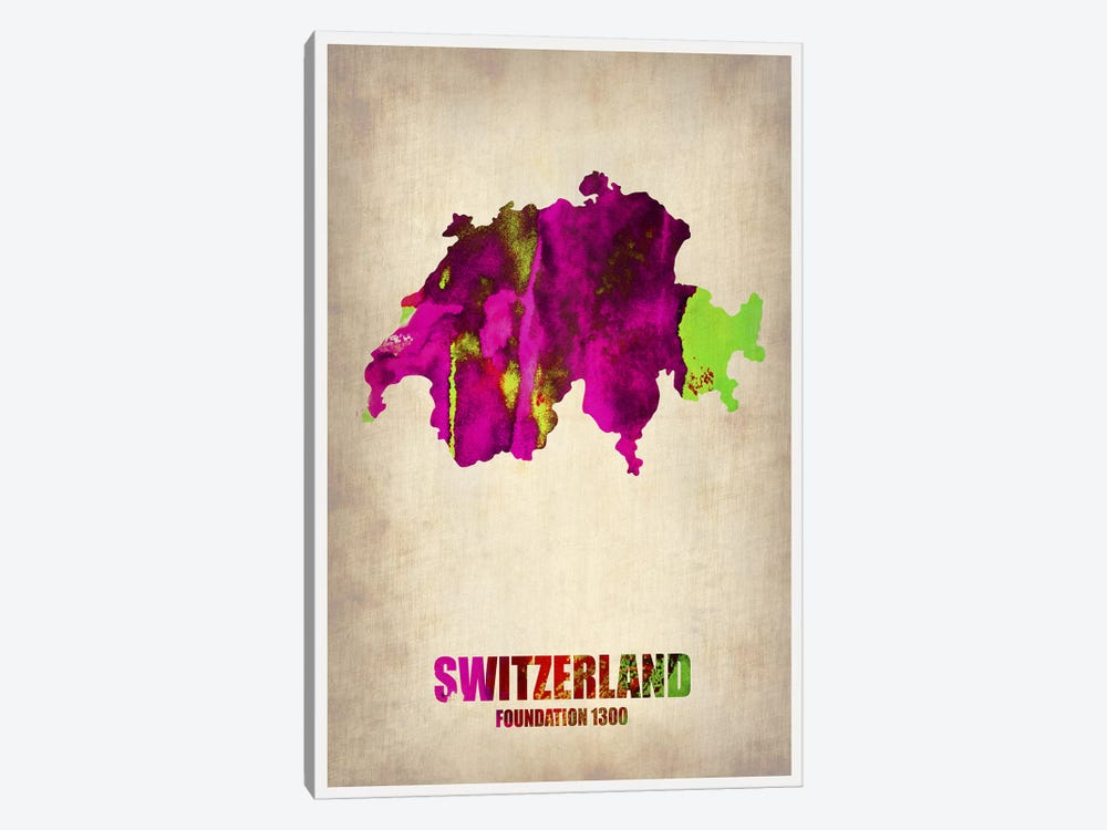 Switzerland Watercolor Map by Naxart 1-piece Art Print