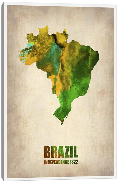 Brazil Watercolor Map Canvas Art Print
