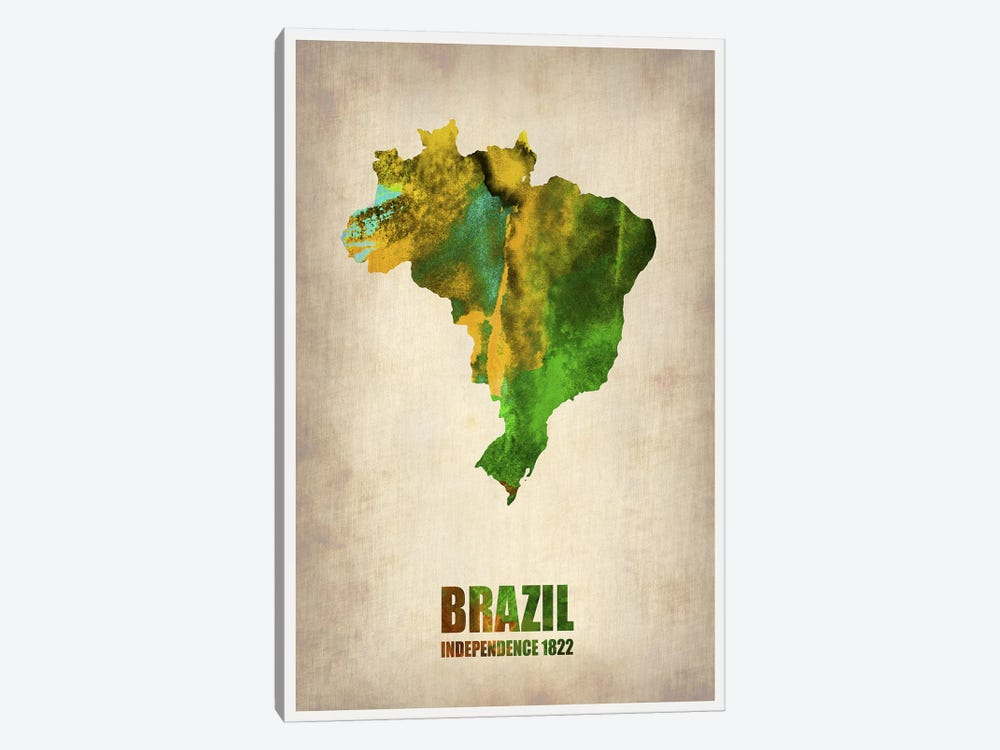 Brazil Watercolor Map by Naxart 1-piece Canvas Art Print
