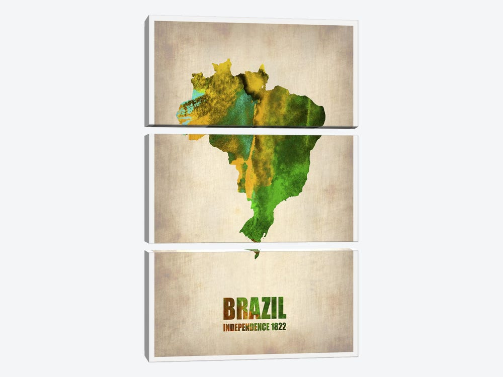 Brazil Watercolor Map by Naxart 3-piece Canvas Art Print