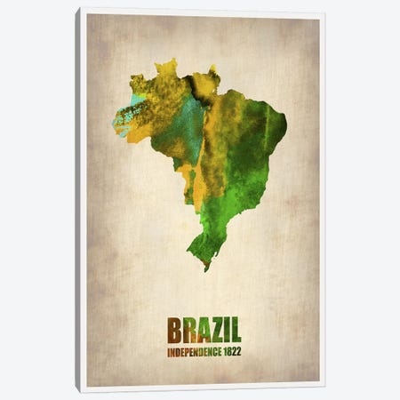 Brazil Watercolor Map 3-Piece Canvas #NAX330} by Naxart Art Print