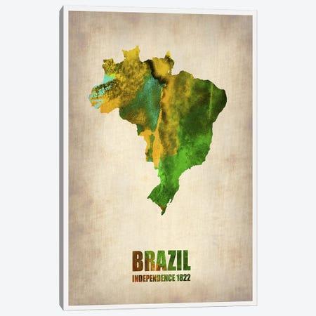 Brazil Watercolor Map Canvas Print #NAX330} by Naxart Art Print