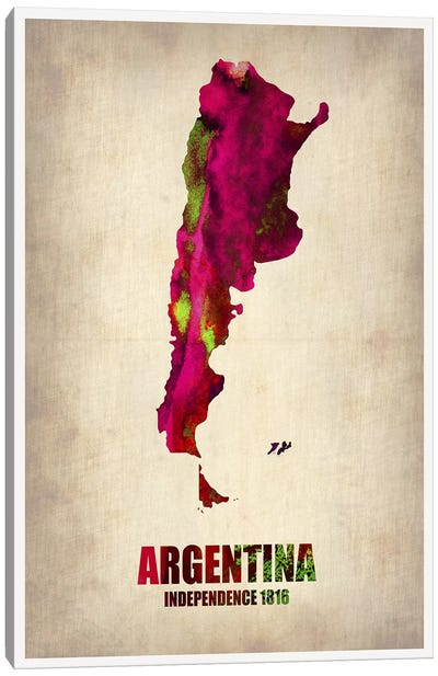 Argentina Watercolor Map Canvas Art Print