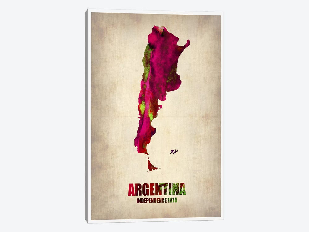 Argentina Watercolor Map by Naxart 1-piece Canvas Art