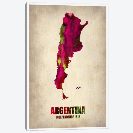 Argentina Watercolor Map Canvas Print #NAX331} by Naxart Canvas Print