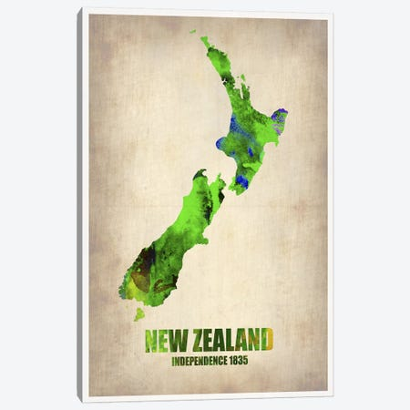 New Zealand Watercolor Map Canvas Print #NAX332} by Naxart Canvas Print