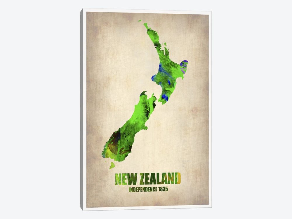 New Zealand Watercolor Map by Naxart 1-piece Art Print