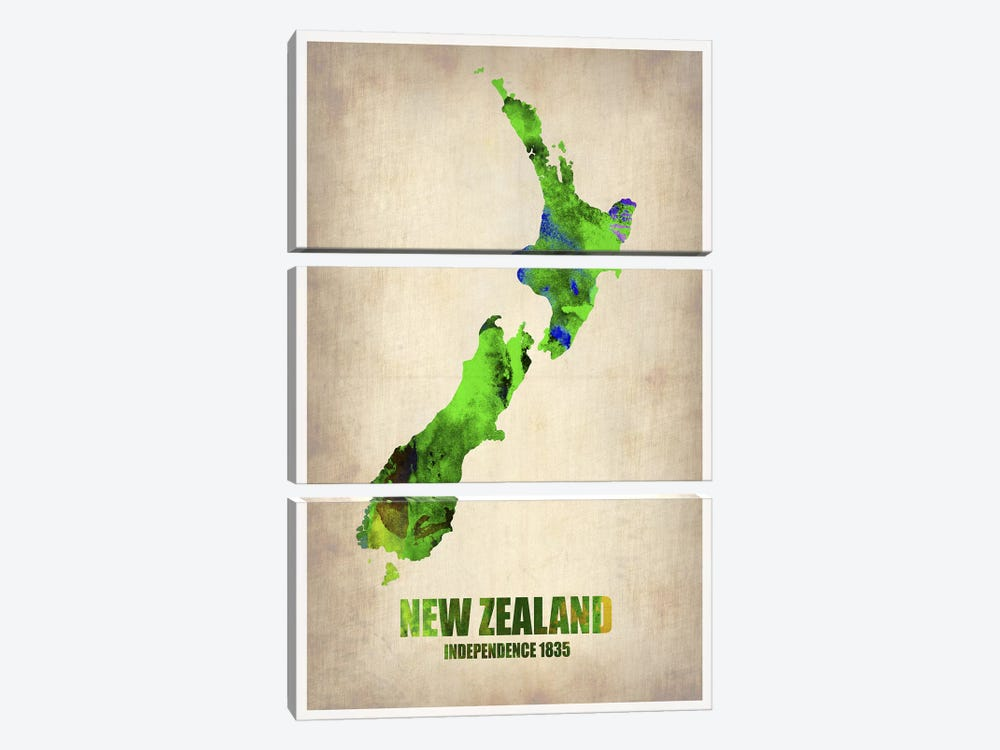 New Zealand Watercolor Map by Naxart 3-piece Art Print