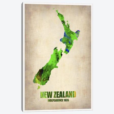 New Zealand Watercolor Map Canvas Print #NAX332} by Naxart Canvas Print