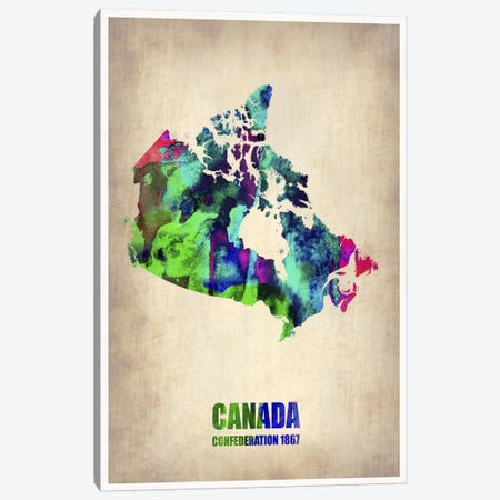 Canada Watercolor Map Canvas Print #NAX333} by Naxart Canvas Print