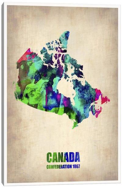 Canada Watercolor Map Canvas Print #NAX333