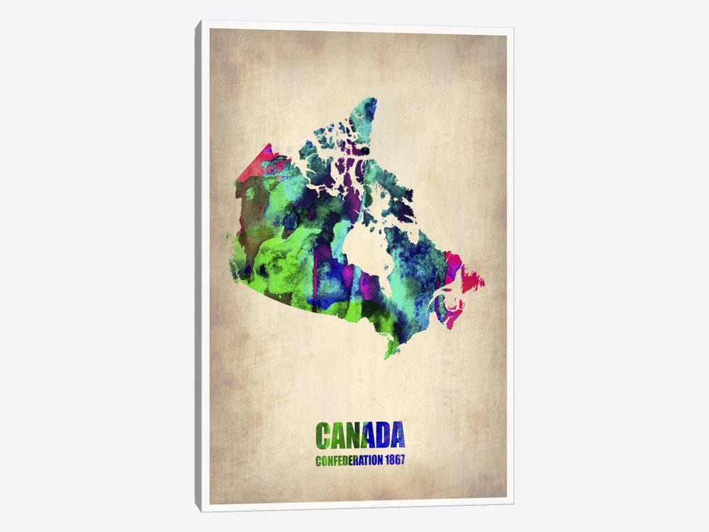 Canada Watercolor Map by Naxart 1-piece Canvas Artwork